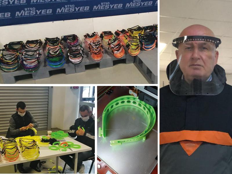 Borçelik Maker Kulübü Bursa'daki Hastaneler İçin  Siperlikli Maske Üretiyor